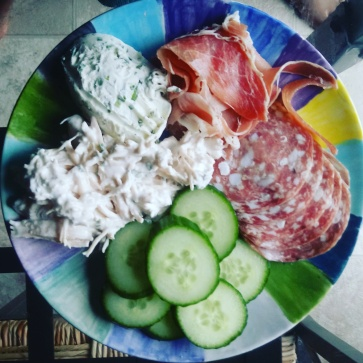 Cheese Spread with Veggies, Chicken Salad and Cold Cuts